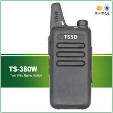 Newest Mini Walkie Talkie TS-380W UHF 400-470MHZ 5W MAX Black Two Way Radio with Earphone