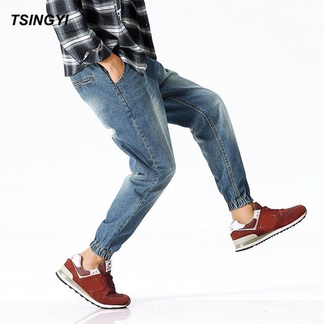 182f0b85ae3 Tsingyi Autumn Denim Stretch Elastic Low Waist Jeans Men Blue Drawstring  Casual Harem Pants Homme Plus
