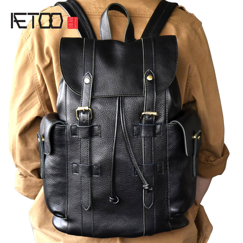 AETOO Large trendy models large leather mens backpack travel leather backpack bagAETOO Large trendy models large leather mens backpack travel leather backpack bag