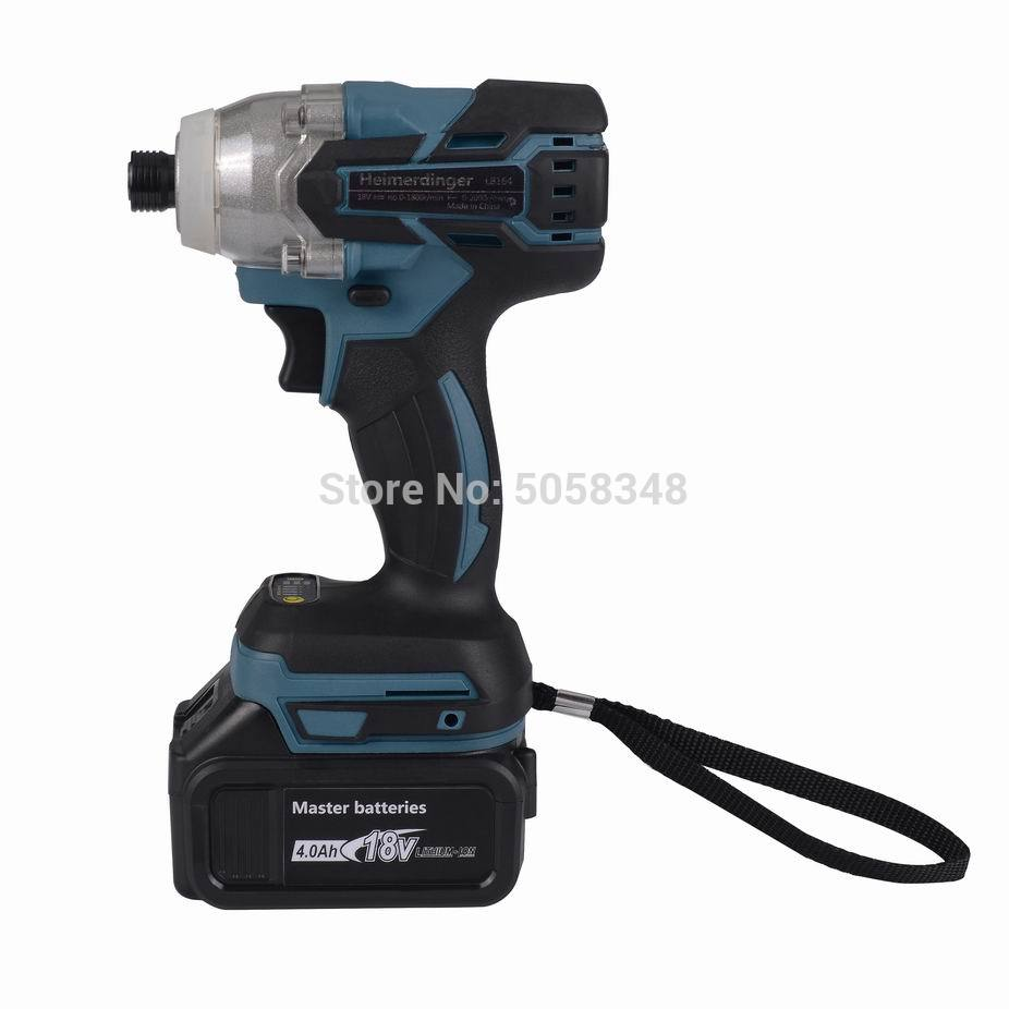 Electric Rechargeable Cordless Brushless Impact Driver Drill With One 18V 4.0Ah Lithium Battery