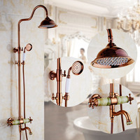 Euro Style Rose Golden Plated Finish Dual Handle Jade Brass Bath Shower Faucet With Slide Bar