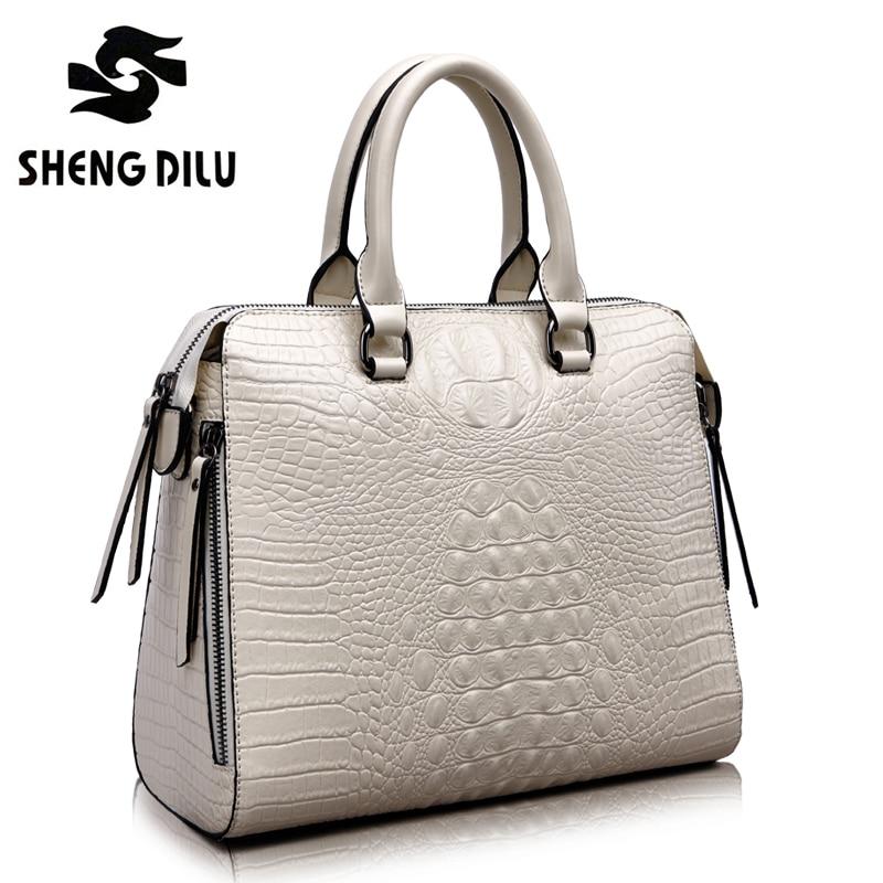 ShengDiLu Designer Genuine leather bag female 2017 New luxury crocodile pattern Tote crossbody bags handbags women famous brands
