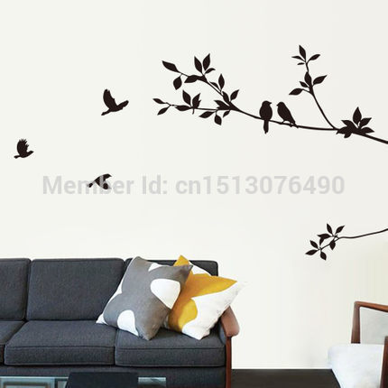 DIY Black Bird Tree Branch Tree and Bird Wall Stickers Vinyl Wall Decals 8171 Family Mural Art Home Decor-in Wall Stickers from Home u0026 Garden on ...  sc 1 st  AliExpress.com & DIY Black Bird Tree Branch Tree and Bird Wall Stickers Vinyl Wall ...
