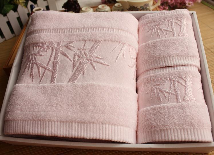 Livraison gratuite 3 couleurs, serviette de bain ensemble de serviettes 100% fibre de bambou, (2 PC * 35X75 CM + 1 PC * 140X70 CM), serviette spa, jacquard bambou Lettres