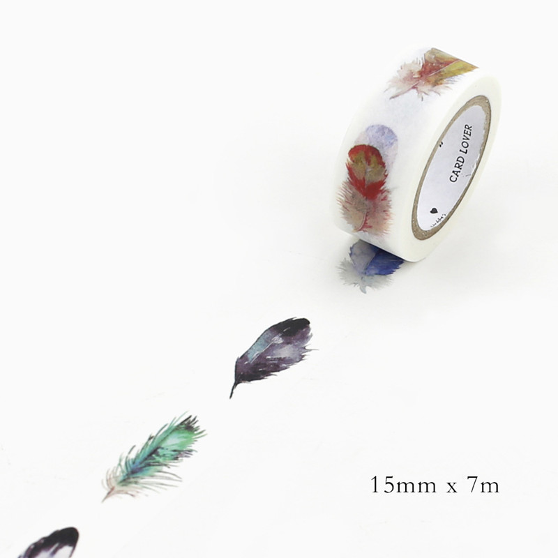 DIY 7M Cute Kawaii Decorative Washi Tape Lovely Feather Masking Adhesive Tape For Scrapbooking Free Shipping 191-2 cute kawaii flowers feather cat swan animals decorative scotch tape adhesive masking washi tape paper stickers for scrapbooking