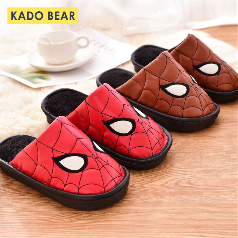 Kids Home Indoor Winter Slipper Children Leather Cotton Spider Man Shoes Baby Boys Girls Fur Plush Warm Cartoon Bedroom Slippers