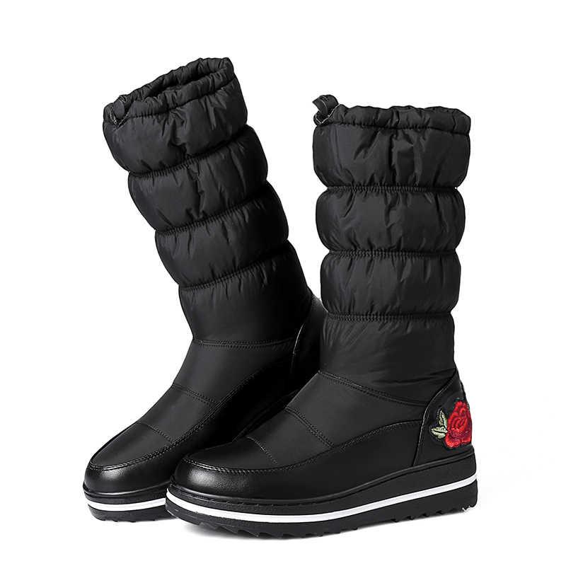 WETKISS Orta Buzağı Kar Botları Kadın Platformu Çizme Kış sıcak Oyalamak Aşağı Pamuklu Ayakkabı Yeni 2018 Moda Katlanmış Bayan Ayakkabıları