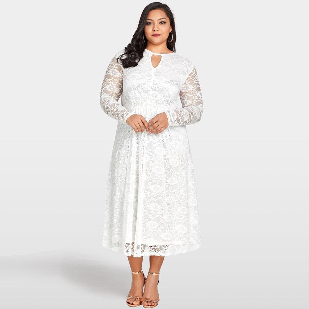 3XL 4XL 5XL Plus Size Lace Dress Oversized Elastic High Waist Elegant Women  Evening Club Wear 63b022f3b8e0