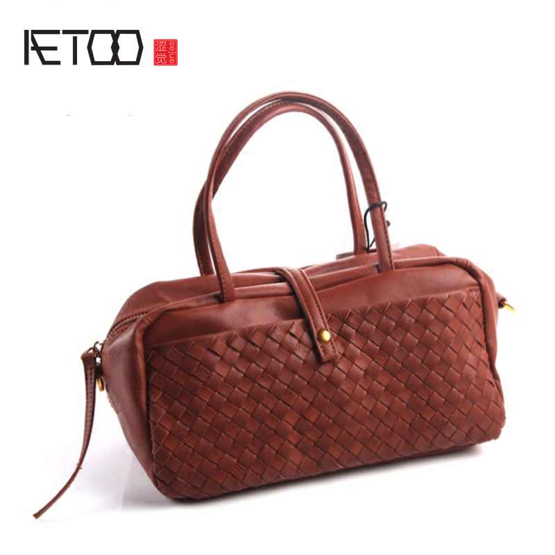 AETOO Europe and the United States and Japan fashion hand - woven handbag leather retro simple shoulder Messenger bag europe and the united states simple geometric pattern hand bag head layer of leather in the long wallet multi card large capacit