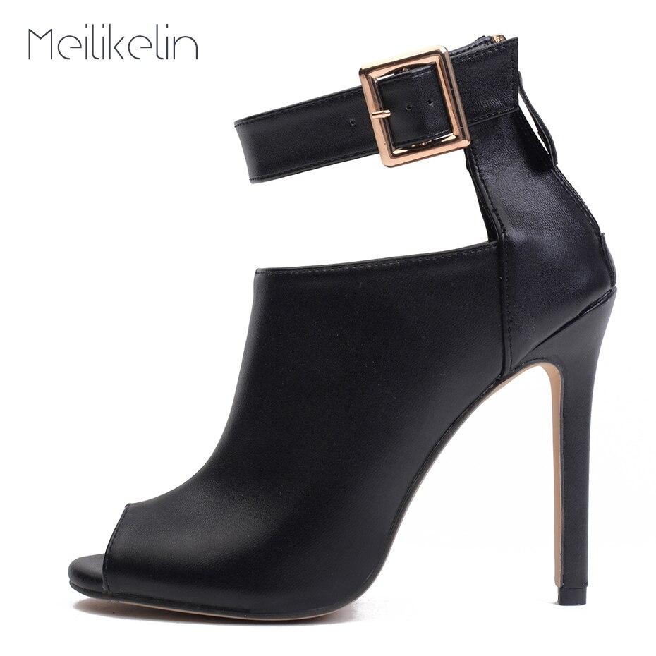 Meilikelin Peep Toe Boots Women Summer