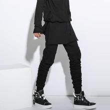 Men Sweatpant Fashion Hiphop Punk Style Skirt Splice Harem Pant Male Casual Slim Fit Trousers Stage Performance Clothing