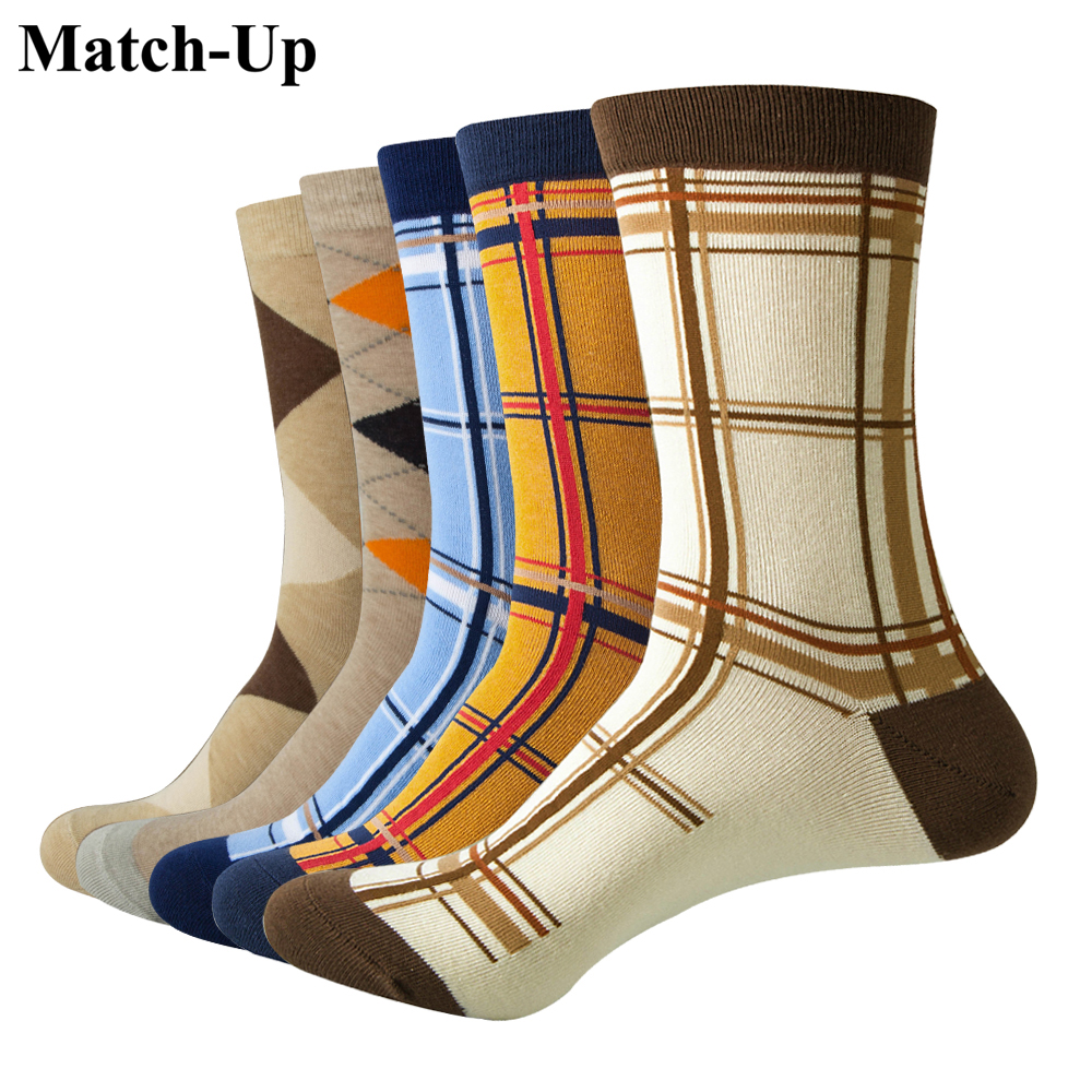 Match-Up Casual Mens Socks  With The Final Design  Funny Socks Gradient Fashion Designer Style Cotton (5 Pairs / Lot )