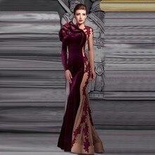 Attraktive O-ansatz Applizierte Abendkleid Regelmäßige Lange Ärmel Partei Vestidos Bodenlangen Sheer Arm Weinrot Meerjungfrau Kleid
