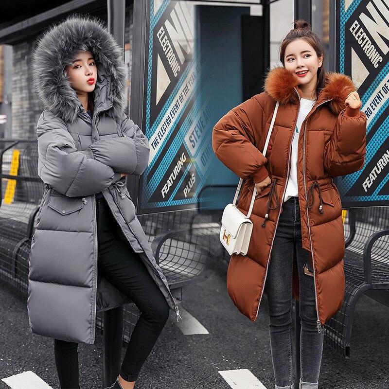 Fur Collar Winter Down Coat Jacket Long Warm Loose Women Cotton-padded Casaco Feminino Abrigos Mujer Invierno Parkas Outwear