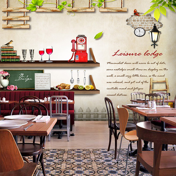 Leisure street cafe wall mural tea shop restaurant decoration wallpaper pastoral landscape custom wallpaper mural in wallpapers from home improvement on
