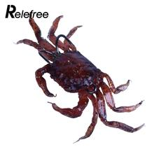 Relefree 3D Simulation Soft PVC Fishing Lures Crab Multicolor Tackle Baits Two Hooks Crab Artificial Bait