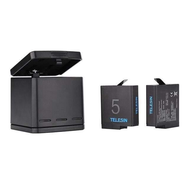 TELESIN 3-way зарядное устройство и 2 батареи комплект, зарядный ящик с сменным аккумулятором для GoPro Hero 5 Black 6 Black 7 Black