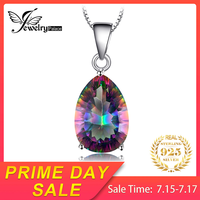 JewelryPalace Bạc 925 Mặt Dây Chuyền Topaz 4.5ct Chính Hãng Rainbow Lửa Mysticstone Nữ/Bé Gái Trang Sức Không Dây Chuyền