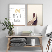 New Beach Landscape Canvas Painting Love Never Fails Quote Posters Prints Wall Art Pictures for Living Room Home Decor Unframed