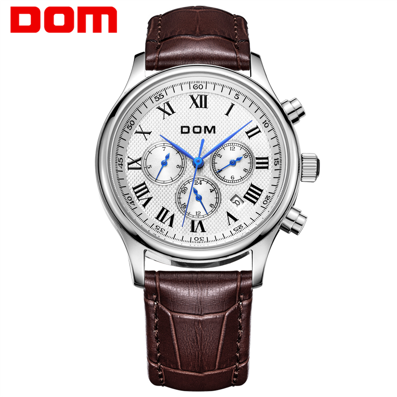 DOM Brand men watches top luxury watch waterproof mechanical watch leather watch Business reloj hombre marca de lujo M-56 mens watches top brand luxury 2017 aviator white automatic mechanical date day leather wrist watch business reloj hombre