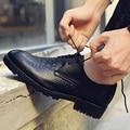 ZDRD flacos de Cocodrilo zapatos de cuero 2017 Nuevos Zapatos Planos Ocasionales de Los Hombres Atan para arriba oxfords Zapatos de Vestir de Alta calidad Negro