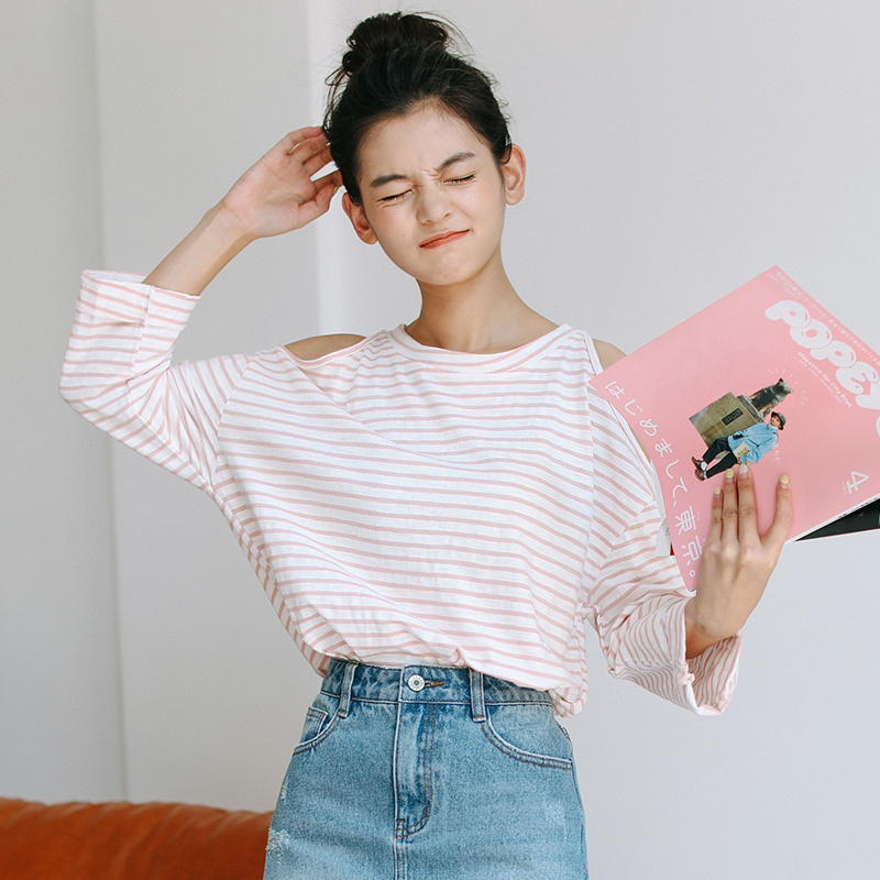 Ulzzang Korean Fashion Off Shoulder T shirt Women Autumn