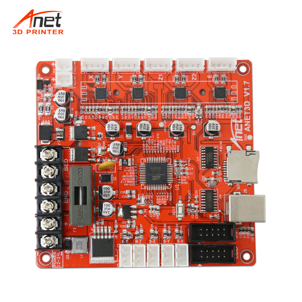 Updated V1.7  Motherboard Main Board Logic Board For Anet 3D Printer Control Reprap I3 Mendel For A8 A6 E10 E12 E16 3D Printer