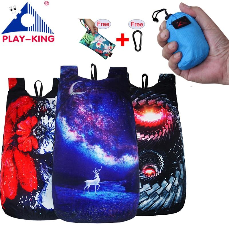 PLAYKING Outdoor Lightweight Nylon Foldable Backpack Travel Women Waterproof Ultralight Backpacks Folding bag Man Hiking 30L