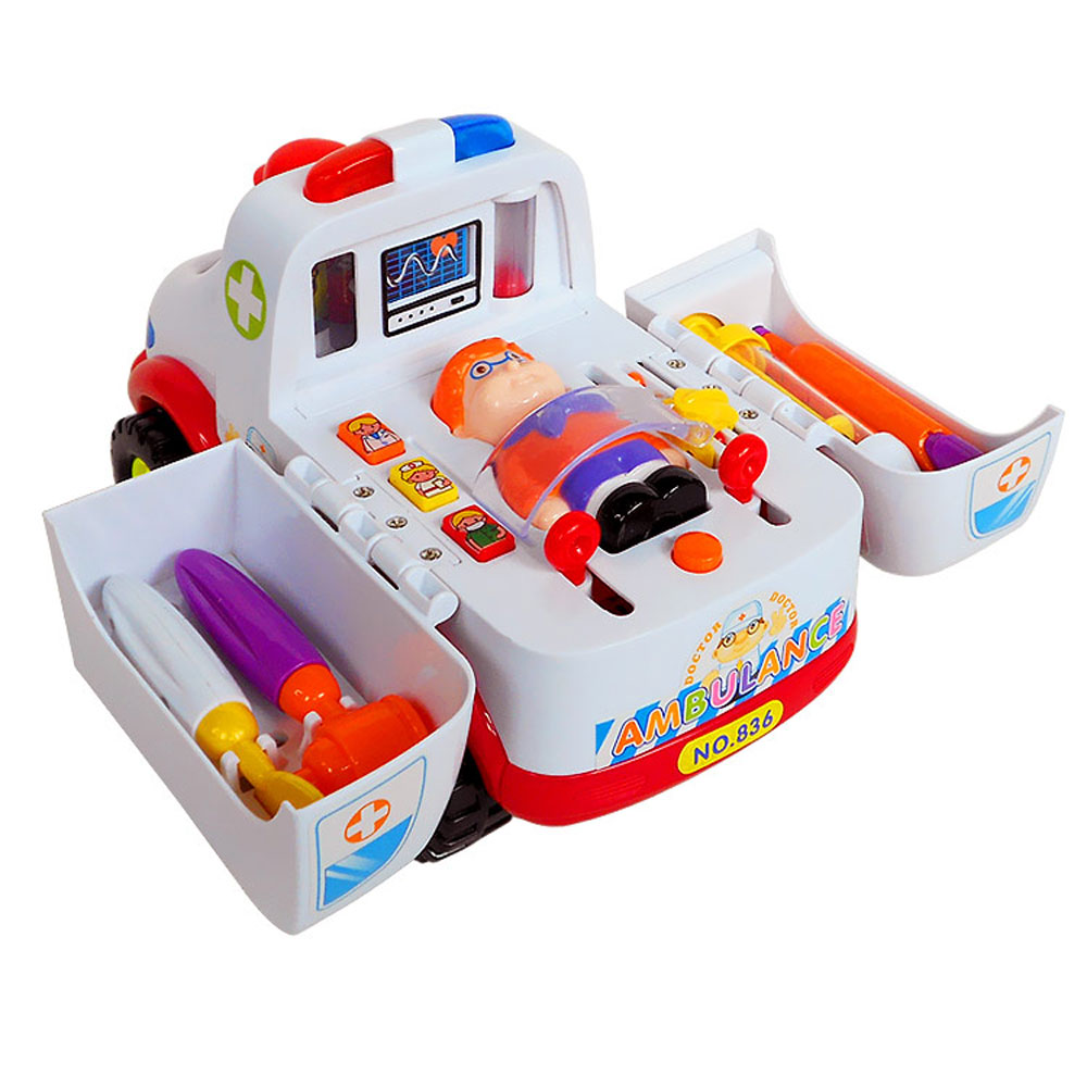 BOHS Toy Ambulance Doctor Vehicle Set with Lights and Music Toys Ambulance Car Electric Pretend Doctor Set (No retail box)