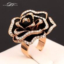 Venta caliente Exagerada Vintage Rose Anillos de Oro Rosa Plateado o Roca Del Dedo de Circonio cúbico Anillo de La Joyería de La Boda Para Las Mujeres DFR329