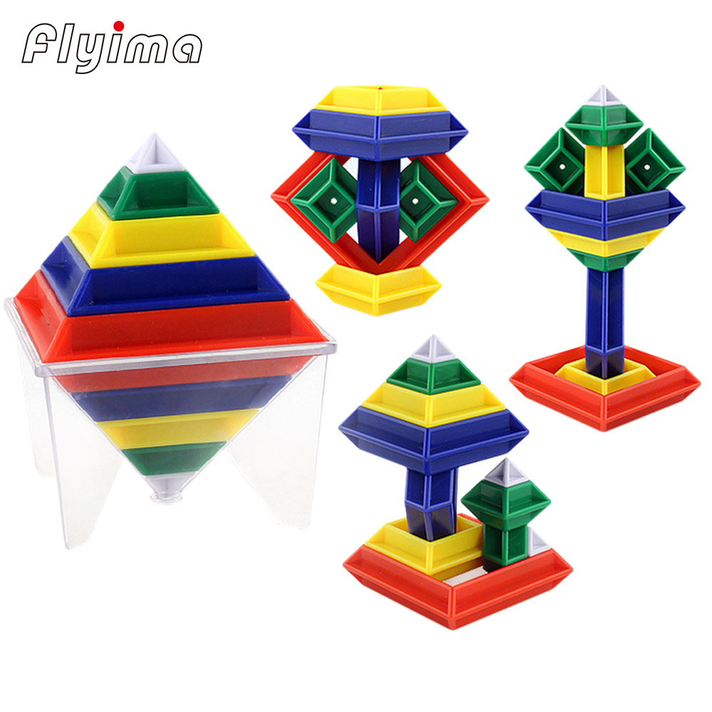 15pcs/set 6*6*8cm 3D Diamond Pattern building blocks Pyramid Cube Assembly Variation Magic Tower  Science and Education Toys