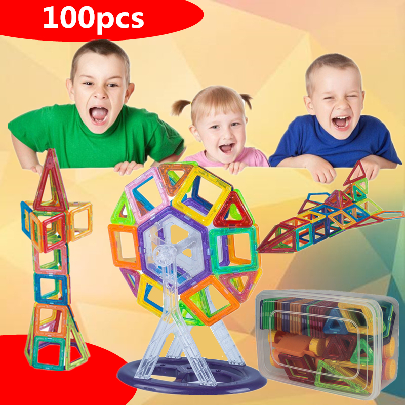 100pcs Mini Magnetic Designer Set 3D Magnetic Construction Building blocks Toy Educational DIY Bricks Toys For Children mini 136pcs set magnetic construction magformers models building blocks toys diy 3d magnetic bricks kids toys