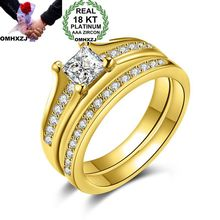 OMHXZJ Wholesale Personality Fashion OL Woman Girl Party Wedding Gift Gold White Wide AAA Zircon 18KT Yellow Gold Ring Set RN19 omhxzj wholesale personality fashion ol woman girl party wedding gift lucky 8 aaa zircon 18kt yellow gold white gold ring rn40
