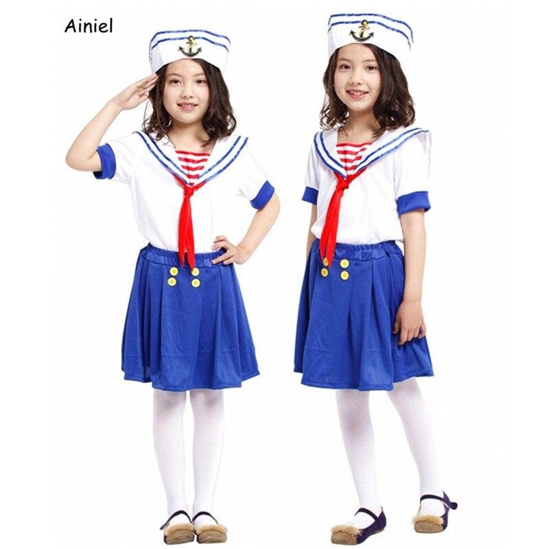 Ainiel Girl Kids Sailor Navy Costume Children  Halloween Party Cosplay Costume  Fancy Dress School Uniform Blue White 3PC SET