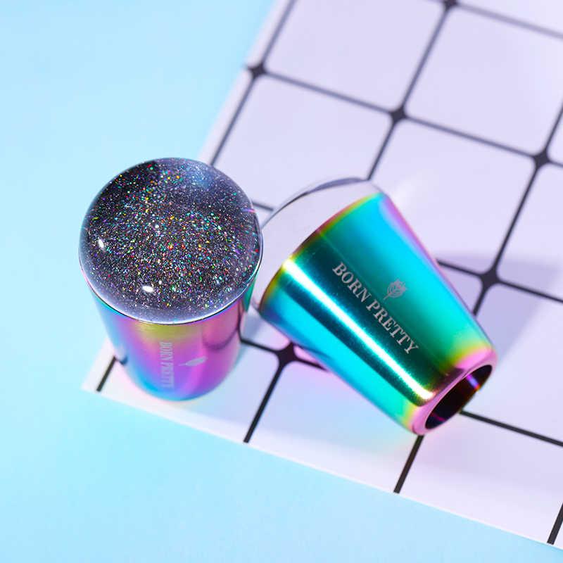 BORN PRETTY с цветными ручками для ногтей Stamper сияющая голографическая головка Прозрачная силиконовая прокладка для дизайна ногтей штамповочная пластина