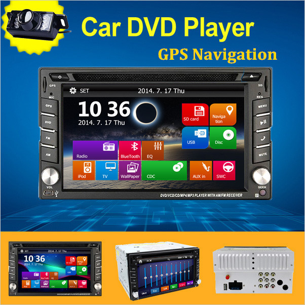 Newest 6.2'' car styling in dash double 2Din Radio GPS Navigation Car DVD headunit Player Video Bluetooth,IPod,FM/AM+Free Camera 2 din car radio mp5 player universal 7 inch hd bt usb tf fm aux input multimedia radio entertainment with rear view camera