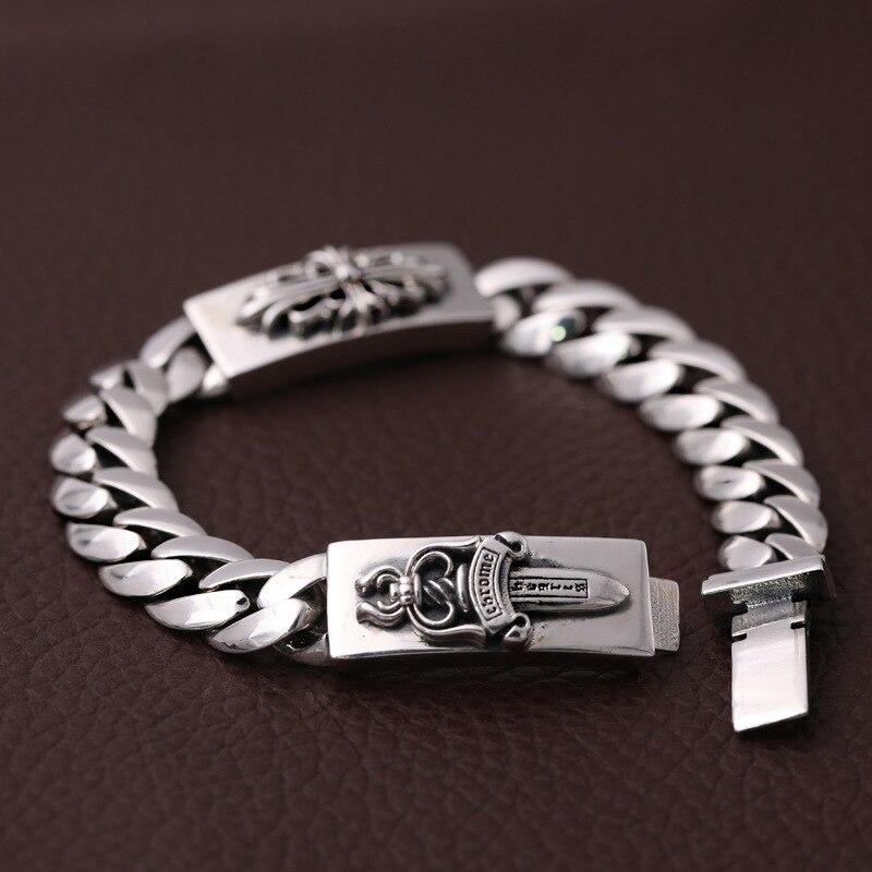 S925 Sterling Silver Fashion Trend Jewelry Men Thai Silver Bracelet Kro Cross Large Sword Bracelet&Bracelet Homme wholesales brs925 sterling silver silver cross cross men cross cross bracelet