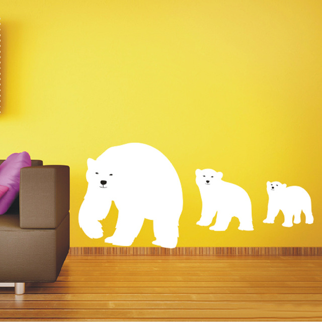 New Polar Bear Vinyl Wall Animal Decals Mother Cub Sticker Art Kitchen Decor Home Decoration 120x56cm