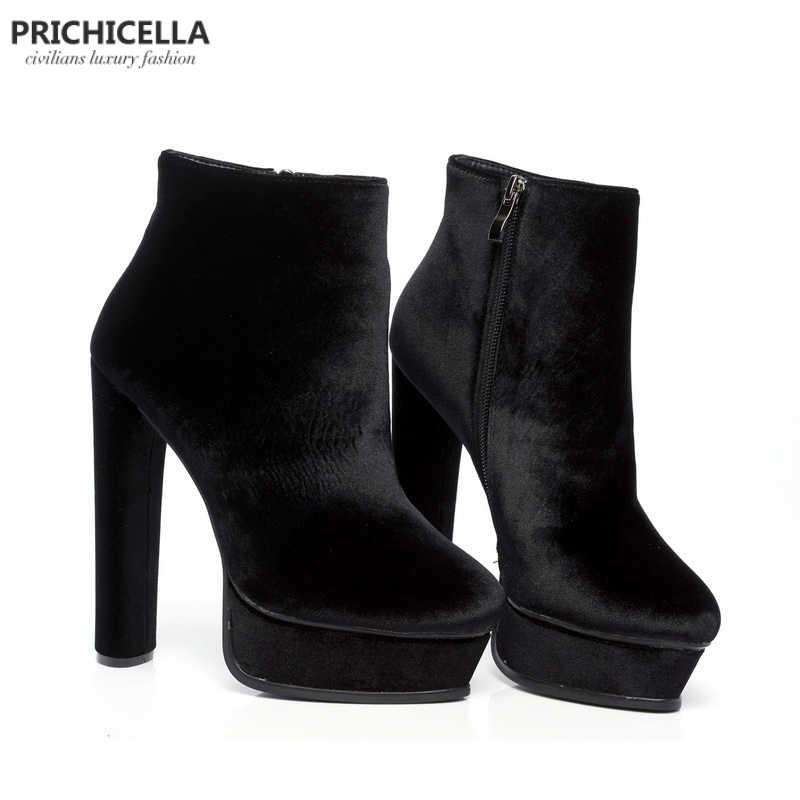 PRICHICELLA Kalite 14 cm yüksek topuklu Bayan platform patik hakiki deri moda kadın ayakkabı size35-42