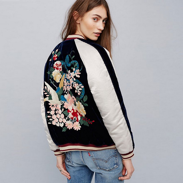Fashion Union Slinky Embroidered Bomber Jacket - Black womens Embroidered  Ribbed trims VGDWOII