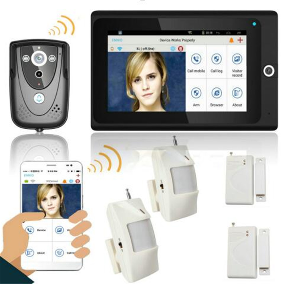 7 Inch Wifi Video Doorbell Support 20CH Wireless 433Mhz  RF Sensor Alarm System Video Door Phone