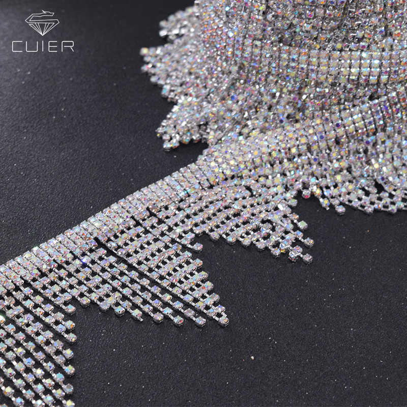 10yards lot Hot sale Crystal AB color 7cm fringe trims rhinestones chain  for women dress 71881e3568f0