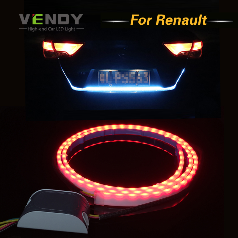 Car LED Rear Trunk Tail Dynamic Streamer Warning Lights DRL For Renault Trafic Safrane megane duster logan laguna Koleos Stepway car styling tail lights for toyota highlander 2015 led tail lamp rear trunk lamp cover drl signal brake reverse