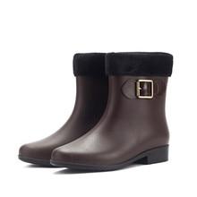 Women Waterproof Rainy Knight Ankle Boots Warm PVC Bowknot Slip On Flat Shoes New Autumn Winter Ladies Casual Rain Booties