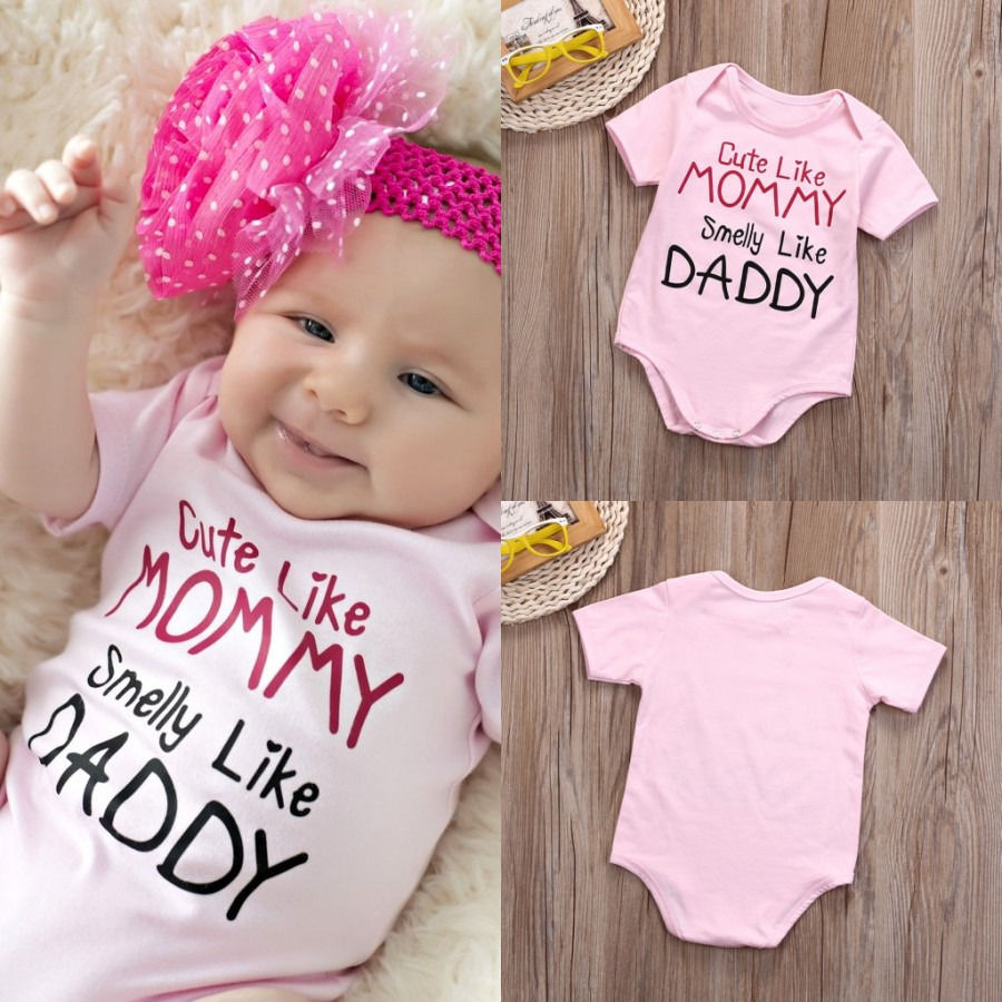 32380dd0a711 1 Pcs Newborn Babies Girls Mommy Daddy Bodysuits Infant Baby Girl Cotton  Pink Letter Bodysuit Jumpsuit Outfits Clothes 0-18M