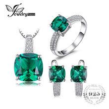 ca018a816048 JewelryPalace 8.7ct Esmeralda anillo colgante pendientes de Clip pendientes  largos aretes pendientes conjunto de joyas de plata .