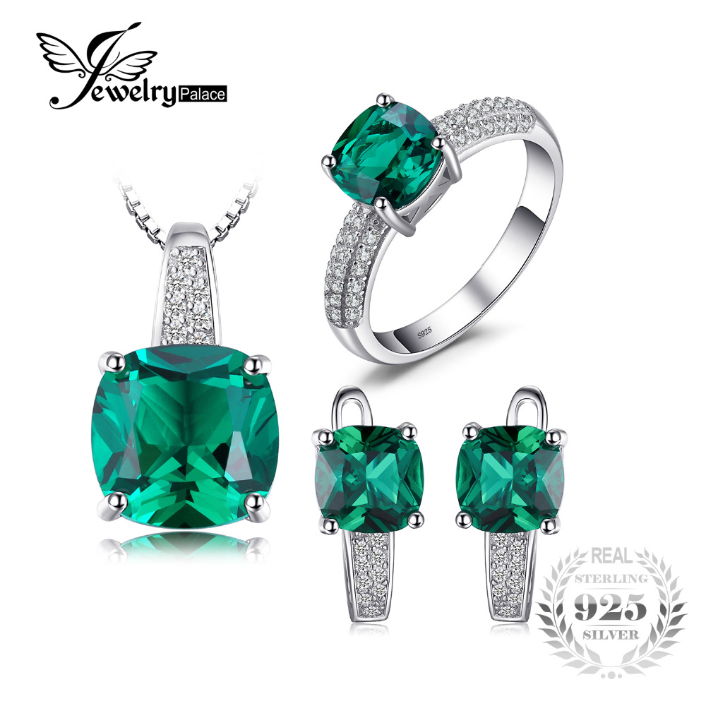 JewelryPalace 8.7ct Emerald Ring Pendant Clip Earrings Jewelry Set - Fine Jewelry