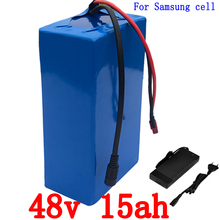 Ningún impuesto EE.UU. UE 48 v 15Ah 1000 W bicicleta de uso de la batería de iones de litio para Samsung 3000 mah celular con BMS y EL Cargador 2A 30A Envío Libre