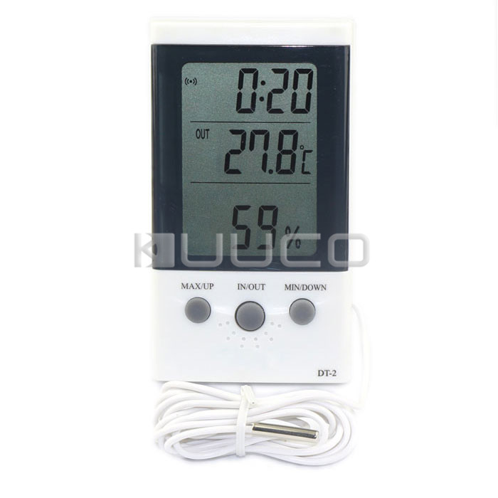 Digital Tester 3in1 Multifunction Temperature/Humidity/Time LCD Display Monitor Meter for Car/Indoor/Outdoor/Greenhouse etc