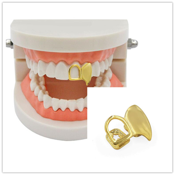 Hip Hop Gold Sliver Hollow Double Teeth Grillz Top Grills Dental Mouth Punk Fake Tooth Caps Cosplay Party Tooth Rock Rapper Body